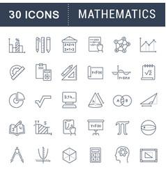 set line icons mathematics vector image