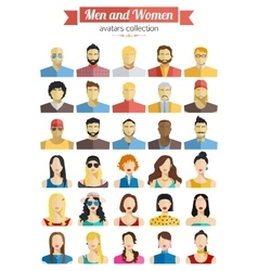 set men and women avatars icons colorful male vector image