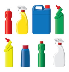 Set of plastic detergent bottles vector image
