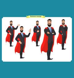 set of super businessman character man standing vector image