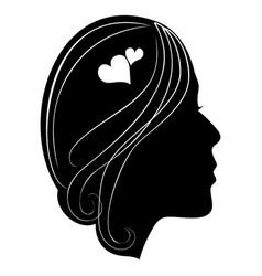 silhouette of a girls head with classic long hair vector image
