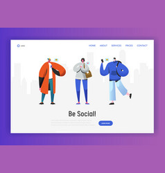 social network landing page template characters vector image