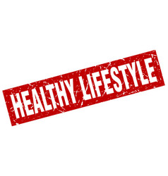 Square grunge red healthy lifestyle stamp vector