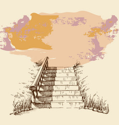 stairs in a park or garden hand drawing grunge vector image