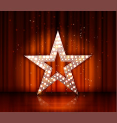 Star retro light banner on red curtains vector
