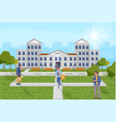 students at university outdoors flat vector image