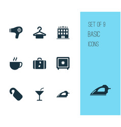 Travel icons set with hanger cup iron and other vector