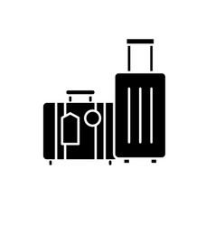 travel luggage black icon sign on isolated vector image