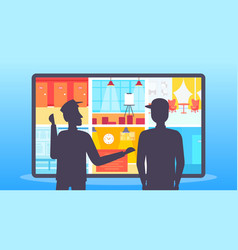 Two security guards looking monitor screen men in vector