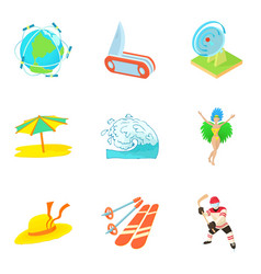 Venture icons set cartoon style vector