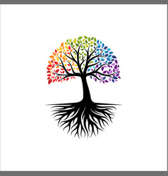 vibrant tree logo design root vector image