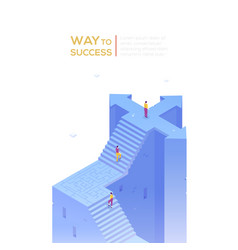 way to success - modern isometric banner vector image