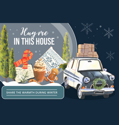 Winter home frame design with cookies book tree vector