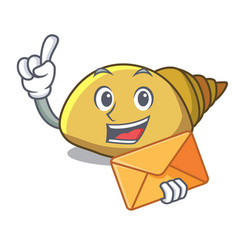 With envelope mollusk shell character cartoon vector