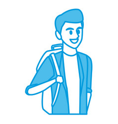 young man student cartoon vector image