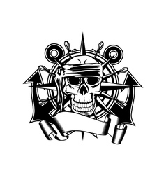 anchor steering whell and skull vector image vector image
