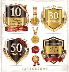 Anniversary retro shields vector image vector image