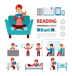 benefits of reading books infographic elements vector image vector image
