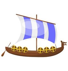 Cartoon Viking ship eps10 vector image