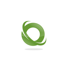 circle and letter o swoosh vector image