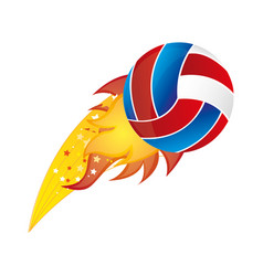 colorful olympic flame with volleyball ball vector image