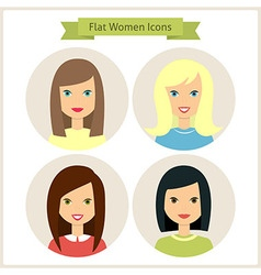 Flat Women Characters Circle Icons Set vector image vector image