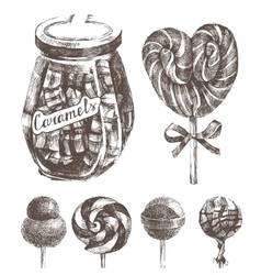 Hand drawn caramels set vector