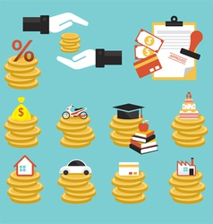 Loan Coins with Objects Credit vector image