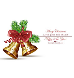 merry christmas card with jingle bell isolated on vector image vector image