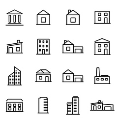 thin line icons - buildings vector image vector image
