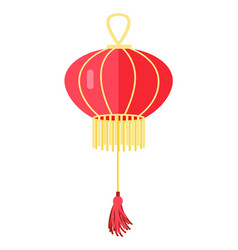 Chinese round red lamp ball oriental lantern vector