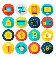 Currency bitcoin flat icons vector