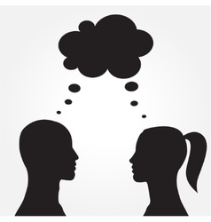 Man and woman with speech bubble vector