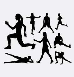 people fitness aerobic and sport silhouette vector image