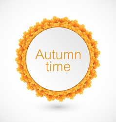 Round label with autumn leaves vector image