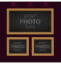 Set of 3 photo frames vector image