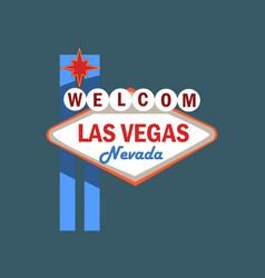 welome las vegas retro street signboard vector image