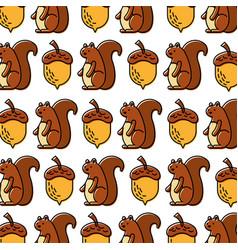 autumn squirrel acorn natural seamless pattern vector image
