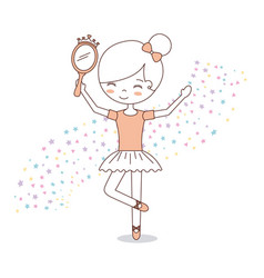 ballet little girl dancing with stars decoration vector image