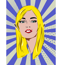 beautiful retro blonde girl with speech bubble vector image