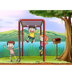 Cartoon Monkey Bar Kids vector image vector image