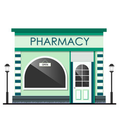 facade of pharmacy store isolated vector image