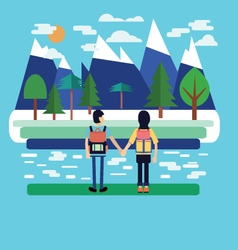 flat landscape Couple traveler with Backpack vector image vector image