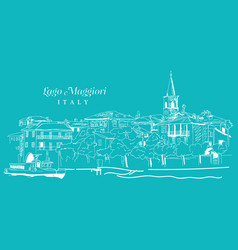 freehand digital drawing of lago maggiore italy vector image
