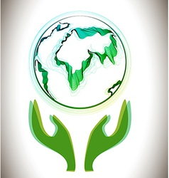 Globe abstract icon with green hands vector image