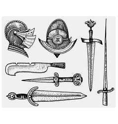 medieval symbols helmet and swords knife vintage vector image