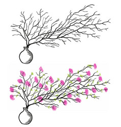the twig in the white vase vector image vector image