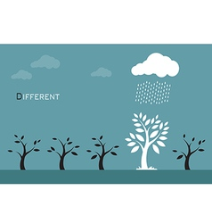 Trees clouds and rain vector image
