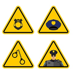 Warning sign police attention Dangers yellow sign vector image vector image