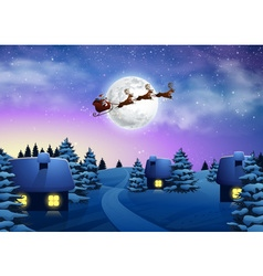 Christmas houses in snowfall night full moon vector image vector image